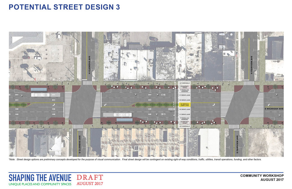 Potential street design with 4 lanes of traffic, a turn lane with a grassy median, on street parking, and street trees