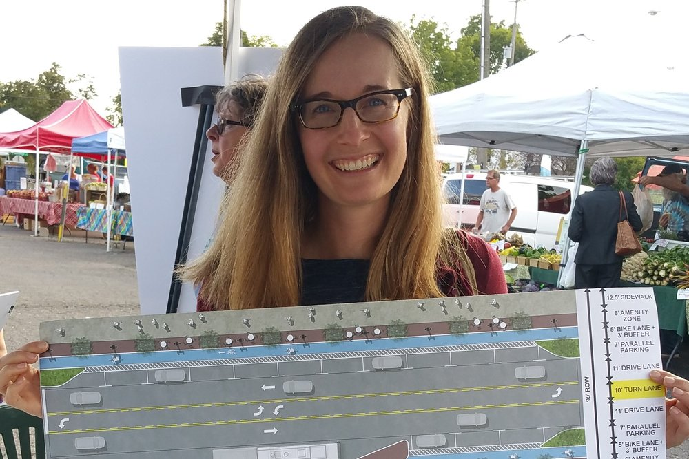 Members of the public display their choices for the avenue at the farmer's market