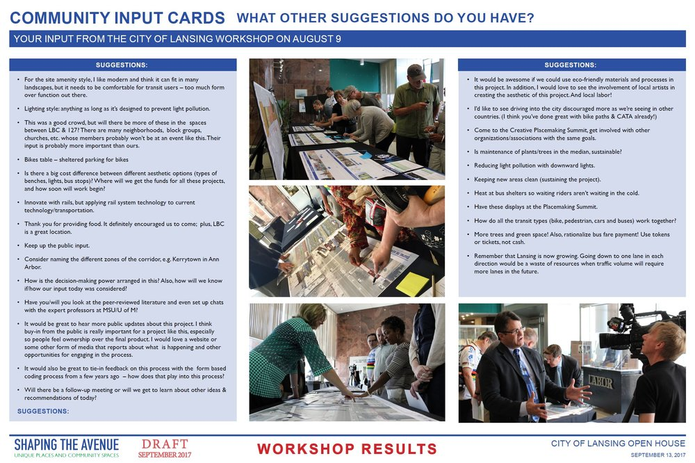 More sampling of community input card suggestions from the workshop on Aug. 9 and photos from that workshop.