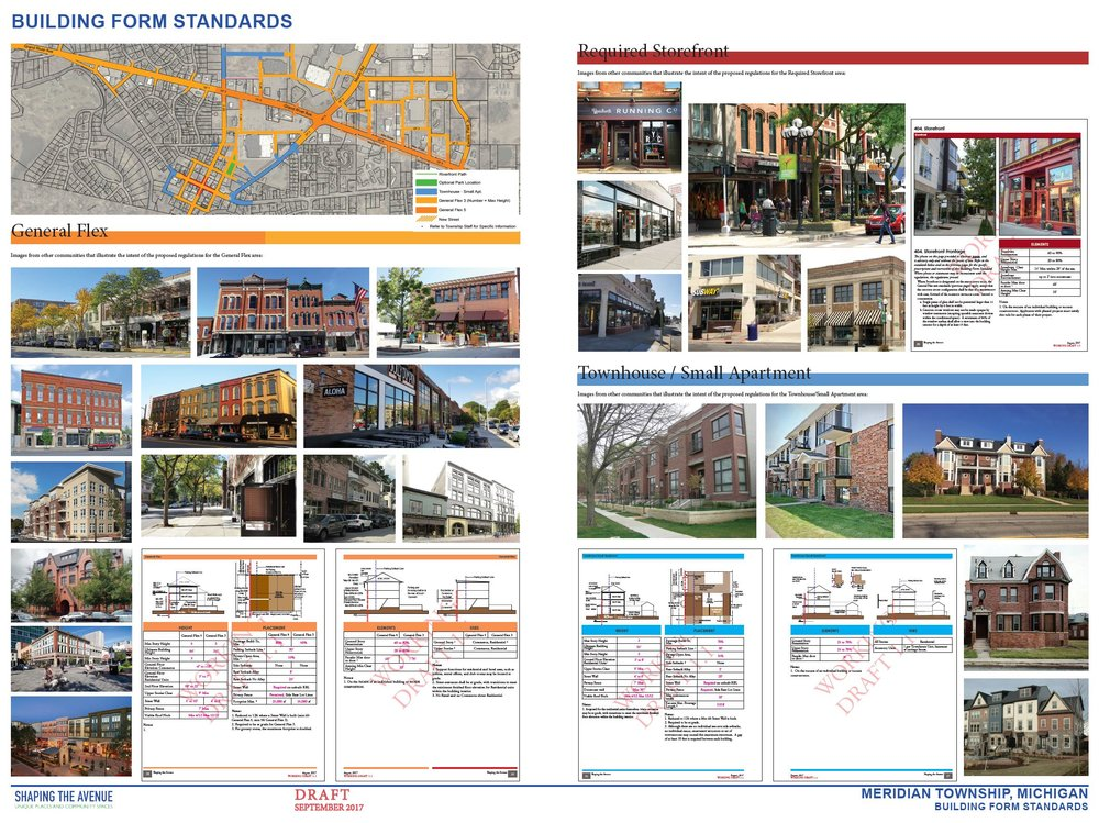 Building form standards help create desirable storefronts, homes, and flexible-use buildings that front the street