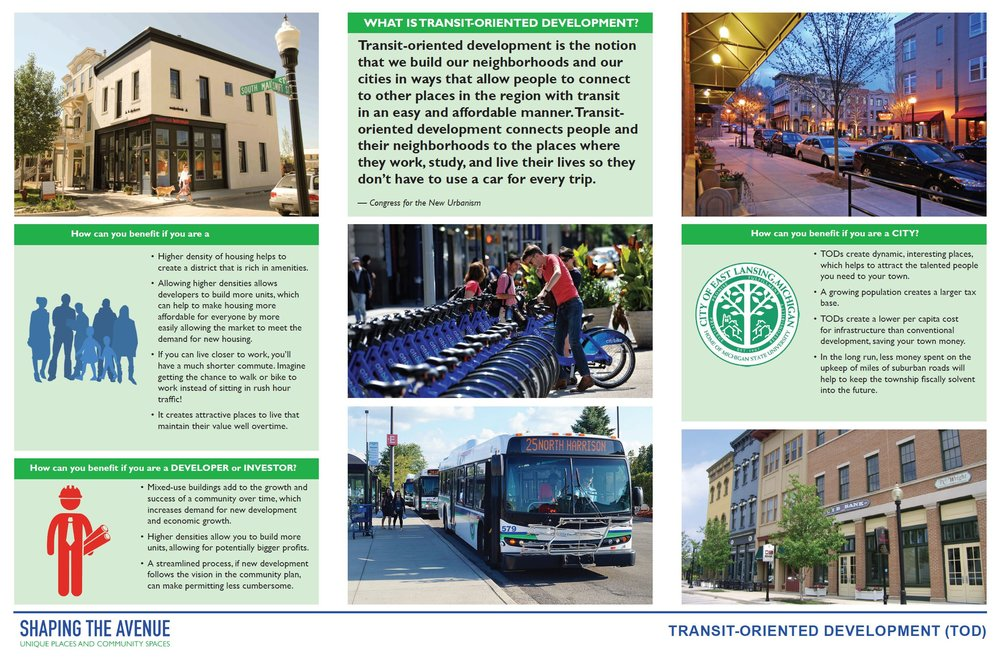 Transit-Oriented Development connects people and their neighborhoods to the places where they work and play so that they don't have to use a car for every trip.