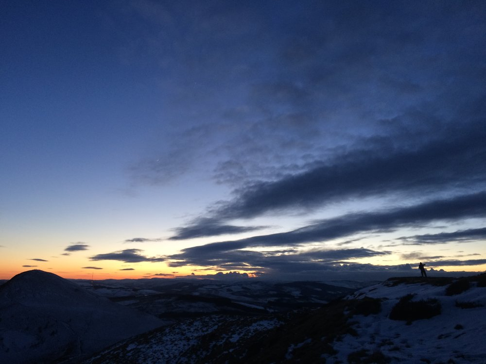 A February sunset from the Eildons, looking over the Southern Uplands.