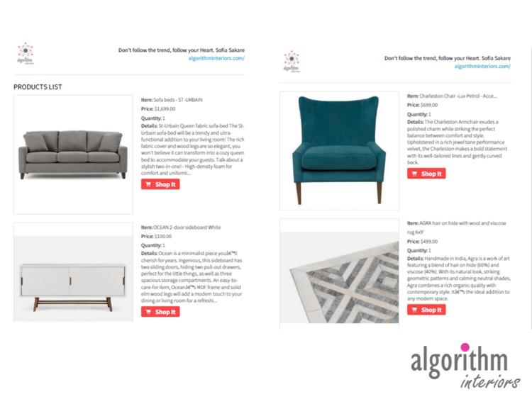 virtual interior design shopping list - Interior Design List