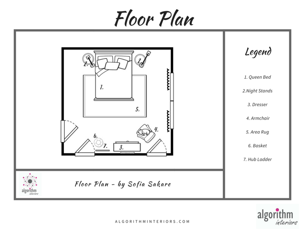 Itemized Floor Plan - - so that you know where everything goes in your newly decorated room. Now you can be sure that everything selected for you can fit.