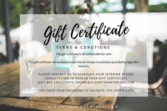 Gift Certificate for Interior Design Consultation