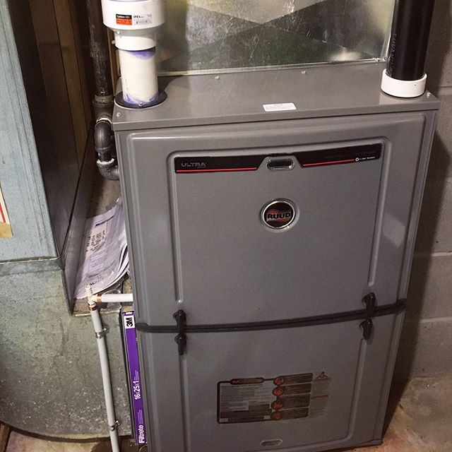 Fresh new furnace install for a customer not long ago. #ruud #hvac #furnace