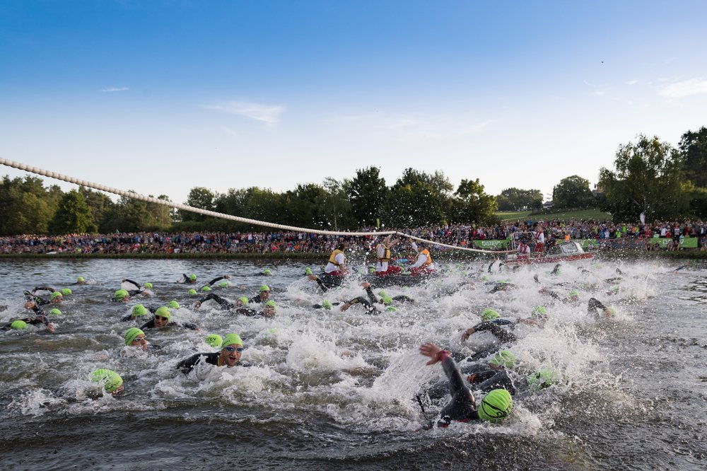 The swim start for an age group wave