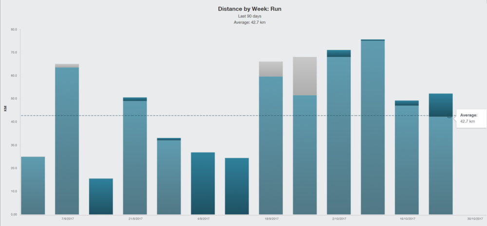 Running distance by week the last 3 months before the marathon
