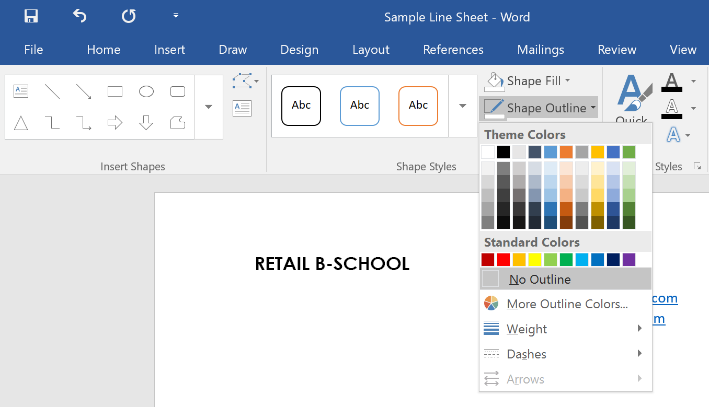 How to remove border from text box on wholesale line sheet template for Microsoft Word