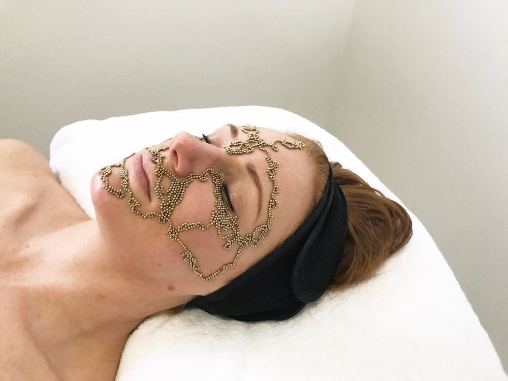 Qi beauty Facial Treatment to lift and define cheeks,work on fine lines around the eyes and create natural lip volume to define the lip line.