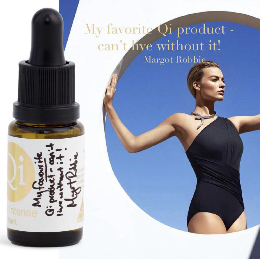 """Margot Robbie, Actress Gold Coast, Australia. - """"My favourite Qi Product - can't live without it!"""""""