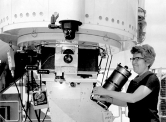 Vera Rubin, shown operating the 2.1-meter telescope at Kitt Peak National Observatory with Kent Ford's spectrograph attached. Image credit NOAO/AURA/NSF. Via Forbes.