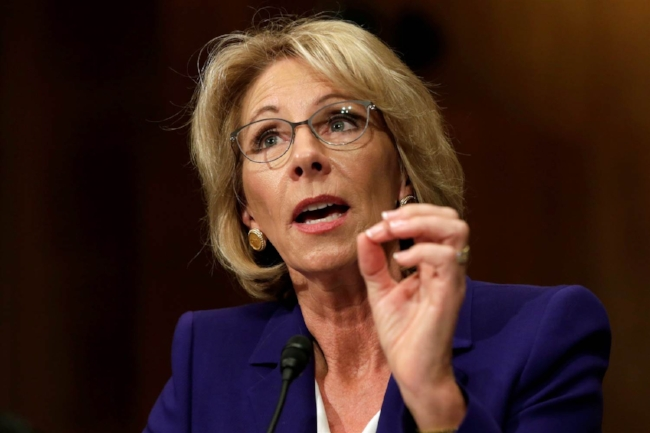 Betsy DeVos at the hearing for Secretary of Education. (Image: NBC News.)