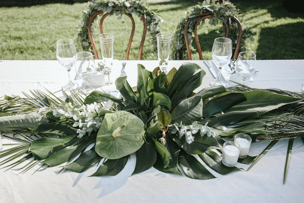 Tropical-themed wedding at the Santa Barbara Zoo.  Photos by  Miramar Photo .