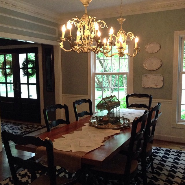 Double chandeliers were a must in our dining room! We have a really lengthy table, so it was the perfect opportunity to create a great lighting moment in this room! Stay tuned and I will show you how I created {with the help of my handy husband} a unique way of hanging the chandeliers!