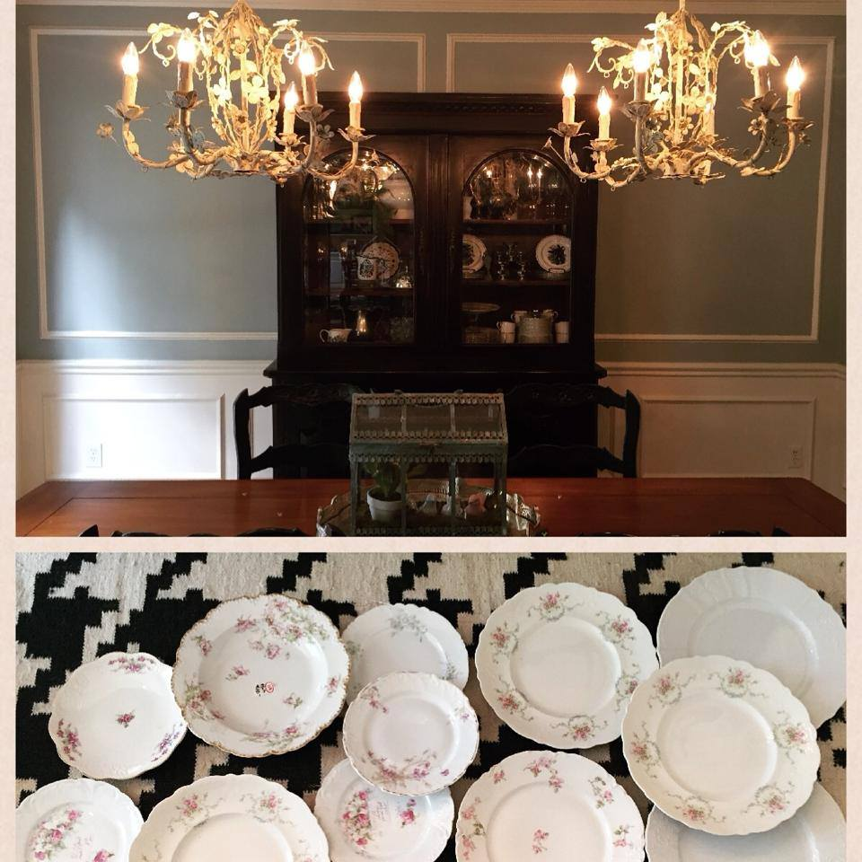 This wall project is LONG overdue! What I'm doing now, is creating a collage of plates on either side of our hutch in the dining room! I have searched estate sales and antique stores for cute little plates for quite some time!! Stay tuned for the final product!