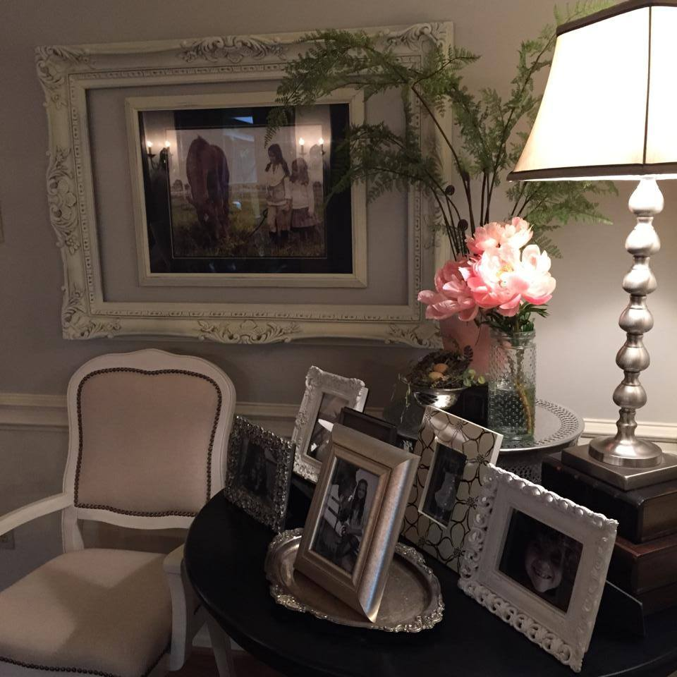 These pretty peonies provided the perfect pop of color for this sweet little corner in our family room! If only they lasted longer!