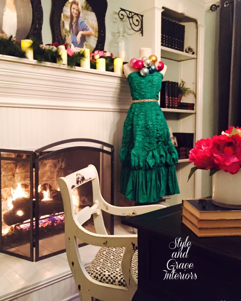 Unconventional Christmas tree! I love this vintage dress that was my aunt's in the late 1950's!! Why not turn it into something more fun!?!