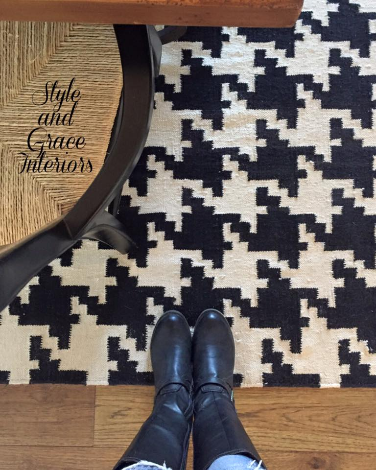 I never get tired of one of my favorite rugs! This large scale houndstooth pattern is so fun and it's just the right amount of bold for my dining room!