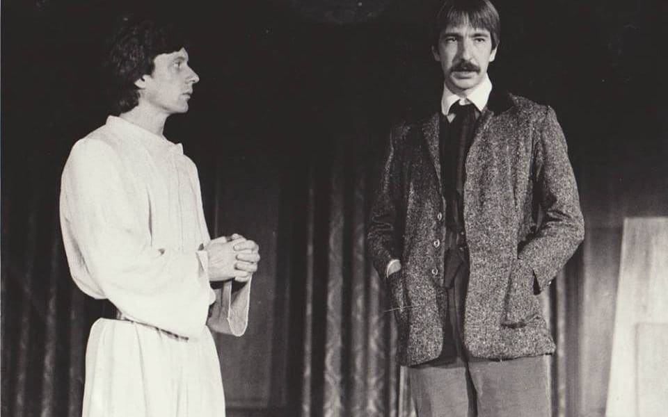 Stephen Boxer and Alan Rickman in Brothers Karamazov, 1981.