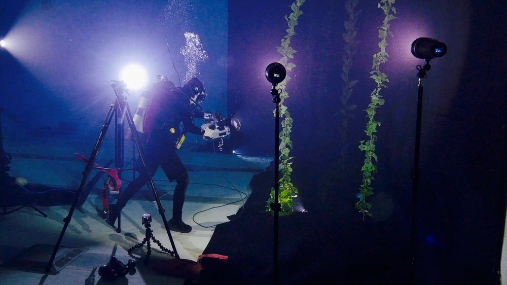 BTS still of Laura James, Underwater DP, at work taken by Jeff Whitehurst