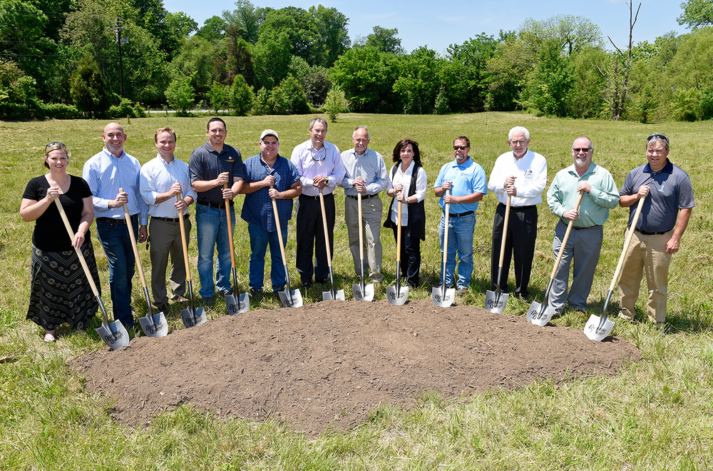 Present at the ground breaking: Keli Frymire and Greg Gamble, Gable Design Collaborative; Adam Seger, Dale and Associates; Chris Jaco, Changing Seasons Property Maintenance; Tim Humerick, Humerick Construction; Cory Napier, Mayor of Thompson's Station; Rick and Nancy McEachern, Owners Graystone Quarry Events; Mark Tarrh; Arlen Harris, Pinnacle Financial Partners; William Johnson, Architect; and Clay Beach with Miller, Loughry and Beach. (photo: Sanford Myers)