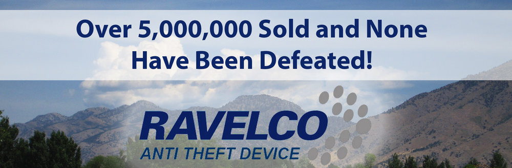 Ravelco anti theft device logo and mountains