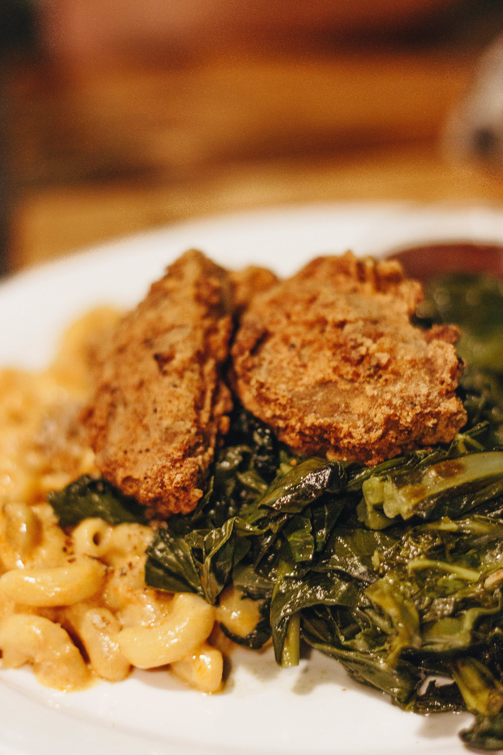 Indulging in Comfort Food at Hogtown Vegan in Toronto: Southern Combo - mac and chees, collard greens and fried chicken