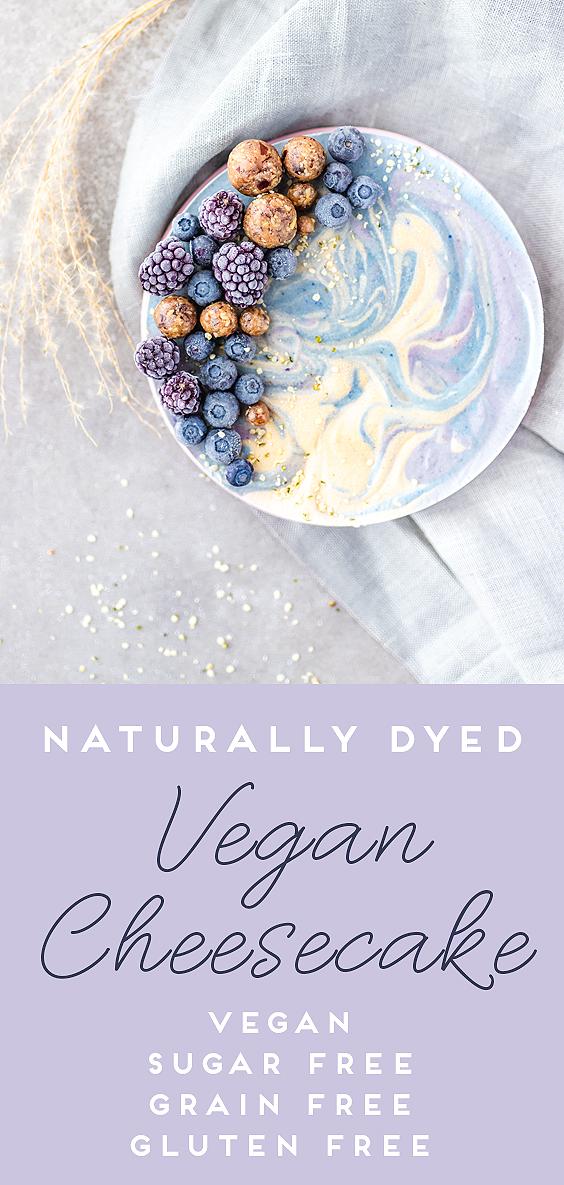 Naturally Dyed Vegan Cheesecake (Sugar Free!)