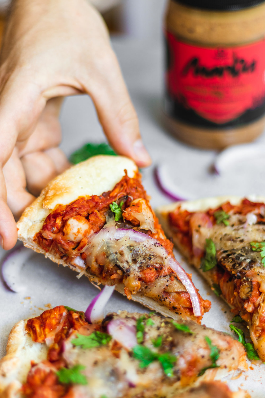 Peanut Butter & BBQ Jackfruit Pizza (Vegan)