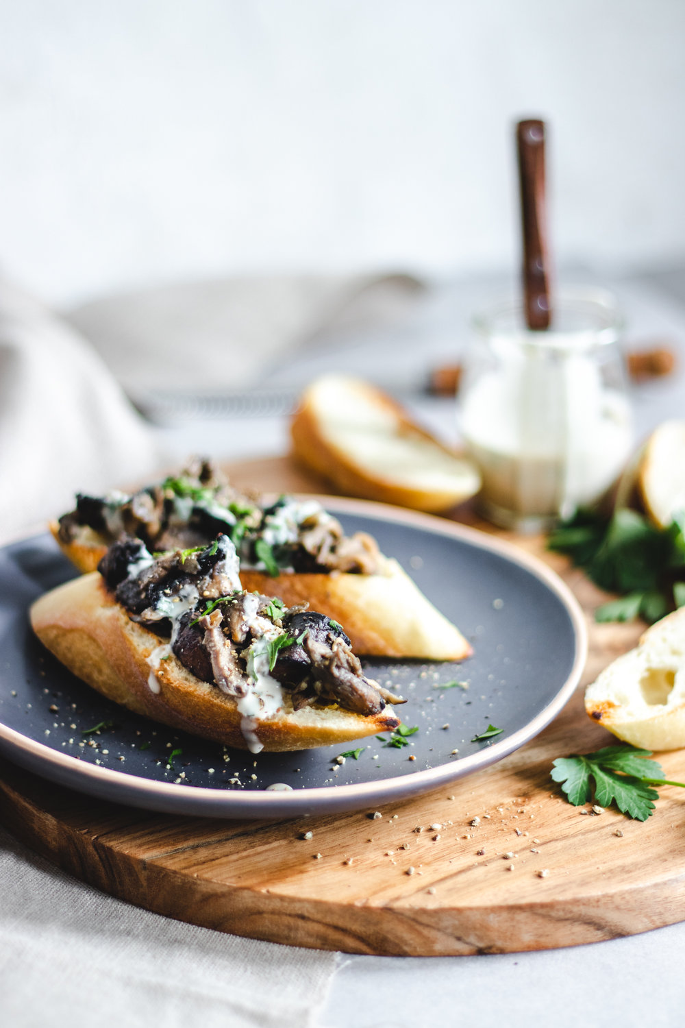 Miso Mushroom Toast with Tahini Parsley Drizzle