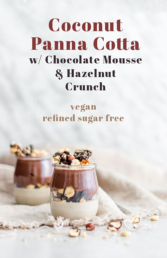 Coconut Panna Cotta with Chocolate Mousse & Hazelnut Crunch
