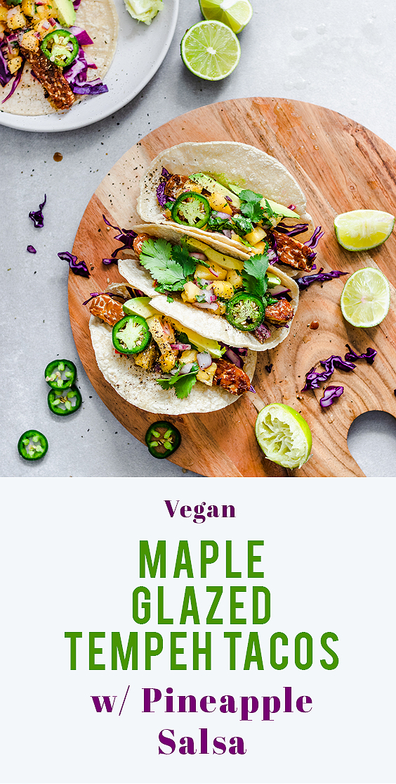 Maple Glazed Tempeh Tacos with Pineapple Salsa