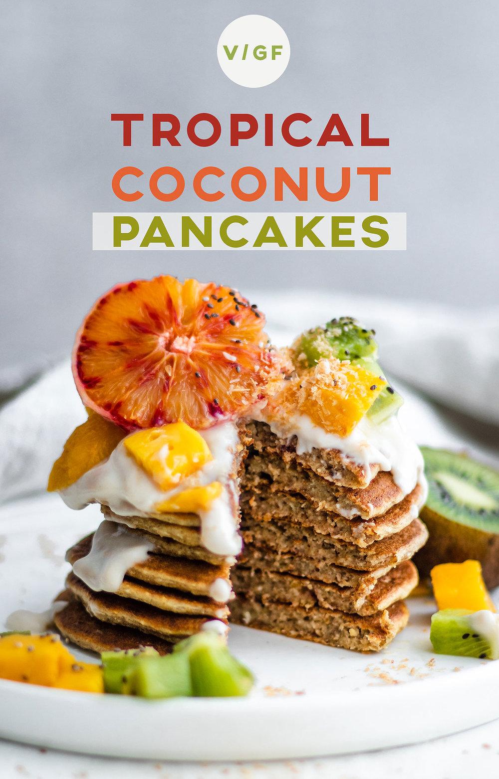 Tropical Coconut Pancakes (Gluten Free & Refined Sugar Free)