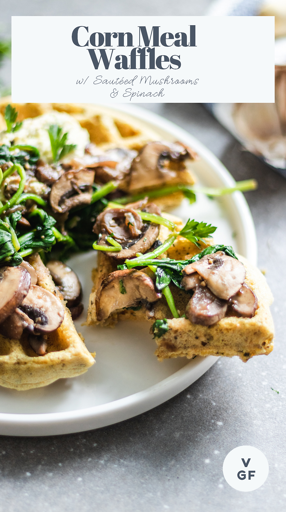Corn Meal Waffles with Sautéed Cremini Mushrooms and Spinach