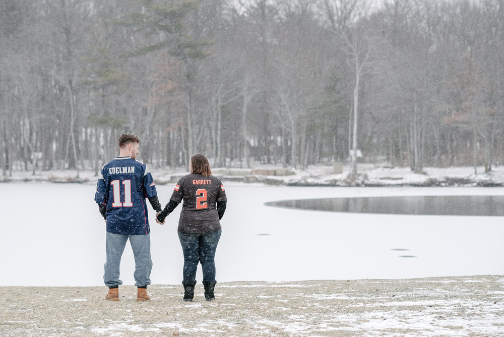 In case you're a football fan (like Emily & Tyler) and are thinking 'there's no #2 for the Browns'…you're right! We did a little Photoshop magic for them so their jerseys made the date of their wedding. They're using this image for their Save The Date cards! So cute!!