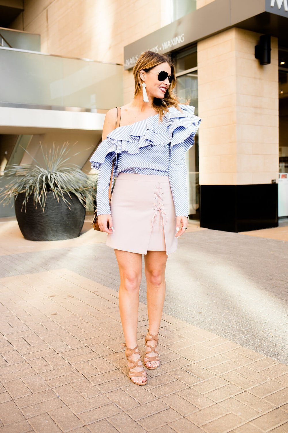 0eb7be4d6bd61 Off Shoulder Ruffle Top + Lace Up Skirt — Whit s Whims