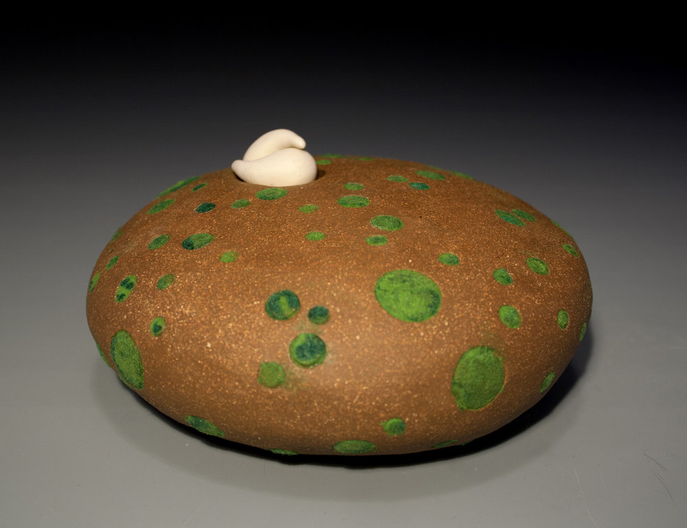 "Seclusion Porcelain, Red Stoneware, Flocking, Cone 8 oxidation 6"" x 4.5"" x 5.5"""
