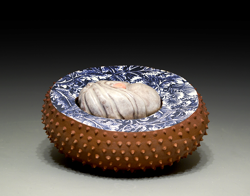 "Dissolution Terracotta, Oxides, Gold Luster Cone 04 oxidation, 22"" x 5"" x 6"""