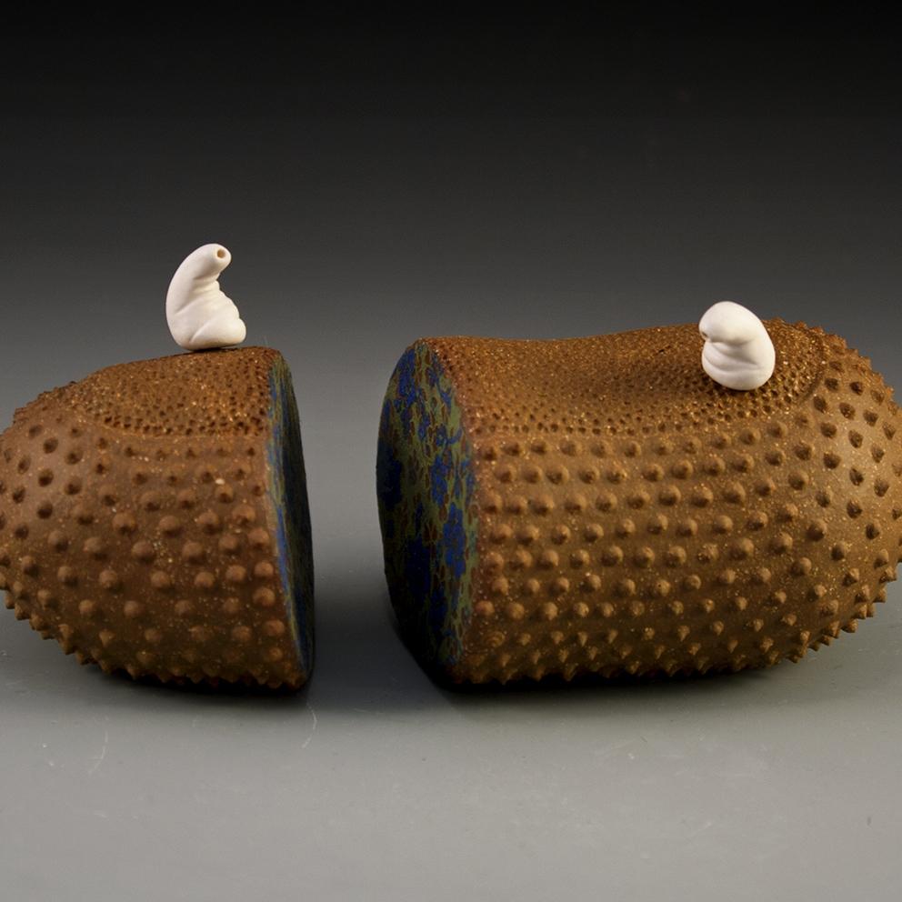 "Dissolution Brown Stoneware, Porcelain, Underglaze, Cone 8 oxidation 5"" x 4"" x 3"""
