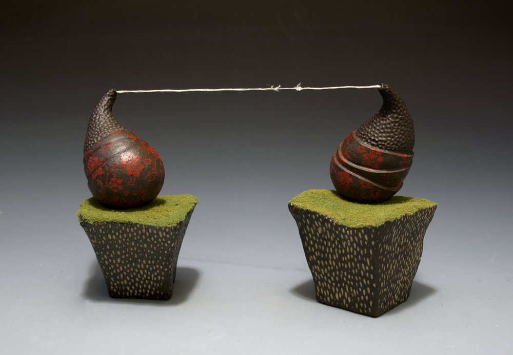 "Withstanding Fiction   Brown stoneware, flocking, string Cone 8 oxidation 5"" x 9"" x 5"""
