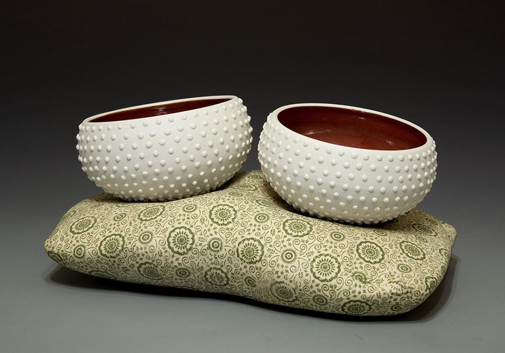 "Teabowls Porcelain, Underglaze Cone 8 oxidation 10"" x 5"" x 5.5"""