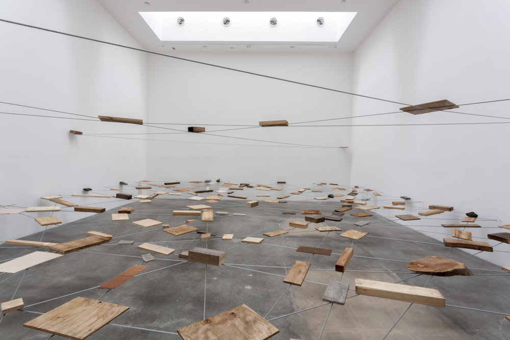 Kishio Suga, Left-Behind Situation, 1972/2013 (wood, stone, steel, wire, rope). Courtesy Blum & Poe, Los Angeles