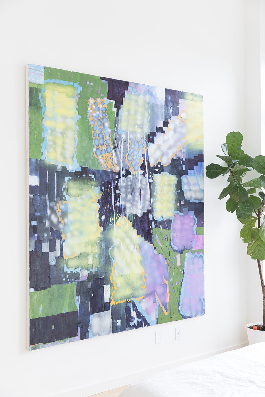 Left: Abstract painting by Keltie Ferris. Right: Painting by David Deutsch