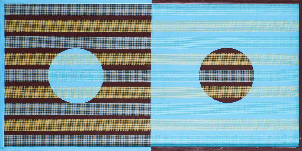 Randy S. Jones \ Two by Four #08, 2014 (oil and drywall tape on board, handmade wood frame) - © David Naugle