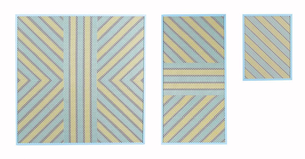 Randy S. Jones \Triptych, 2015 (adhesive duct tape, drywall tape, handmade wood frame)-© David Naugle