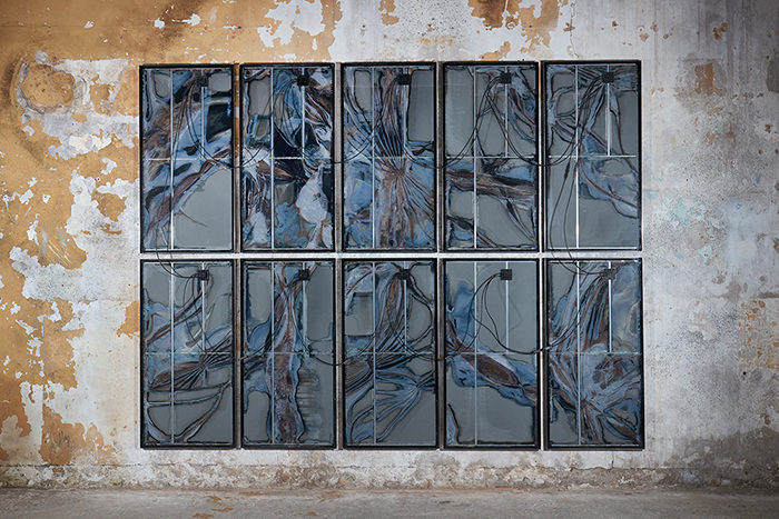 Kristian Kragelund \ Untitled, 2017,Decommissioned solar panels with welded steel frame)Photo: Barney Hindle