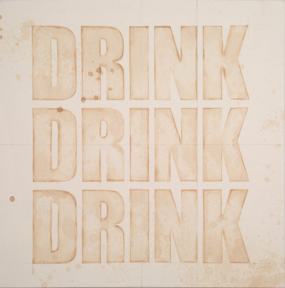Mike Bouchet\ Drink Drink Drink, 2018 (artist produced diet cola and pencil on cotton)
