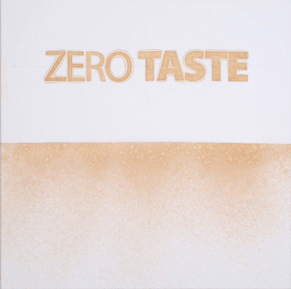 Mike Bouchet\ Zero Taste, 2018 (artist produced diet cola and pencil on cotton)