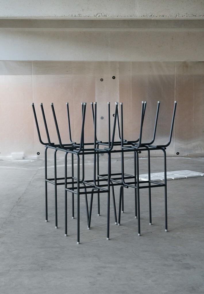 Daniel Svarre \ Chair no. 2, 2017 Iron 39 2/5 × 39 2/5 × 66 9/10 in; 100 × 100 × 170 cm  SPECTA    CHART ART FAIR 2018